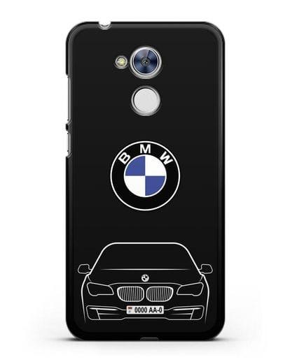 Чехол BMW 7 с автомобильным номером силикон черный для Honor 6A