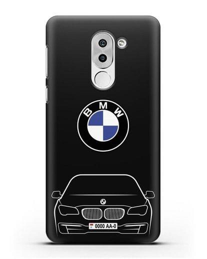 Чехол BMW 7 с автомобильным номером силикон черный для Honor 6X