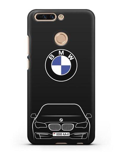 Чехол BMW 7 с автомобильным номером силикон черный для Honor 8 Pro