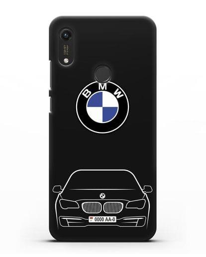 Чехол BMW 7 с автомобильным номером силикон черный для Honor 8A Prime