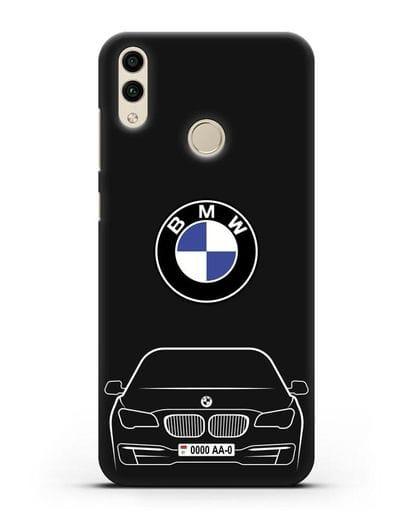 Чехол BMW 7 с автомобильным номером силикон черный для Honor 8C