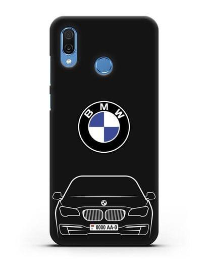 Чехол BMW 7 с автомобильным номером силикон черный для Honor Play