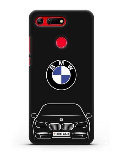Чехол BMW 7 с автомобильным номером силикон черный для Honor View 20