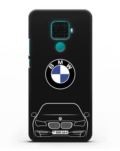 Чехол BMW 7 с автомобильным номером силикон черный для Huawei Mate 30 Lite