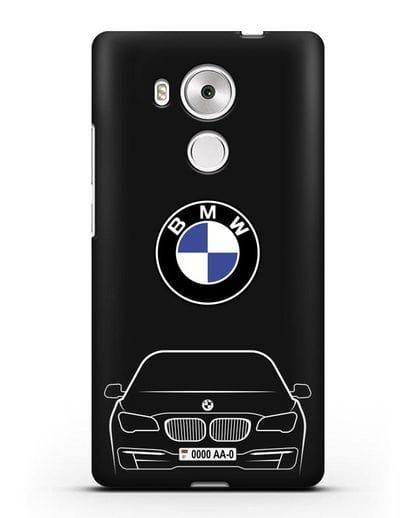 Чехол BMW 7 с автомобильным номером силикон черный для Huawei Mate 8