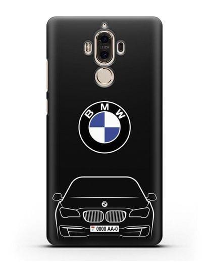 Чехол BMW 7 с автомобильным номером силикон черный для Huawei Mate 9