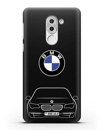 Чехол BMW 7 с автомобильным номером силикон черный для Huawei Mate 9 Lite