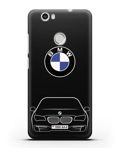 Чехол BMW 7 с автомобильным номером силикон черный для Huawei Nova