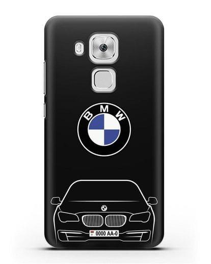 Чехол BMW 7 с автомобильным номером силикон черный для Huawei Nova Plus
