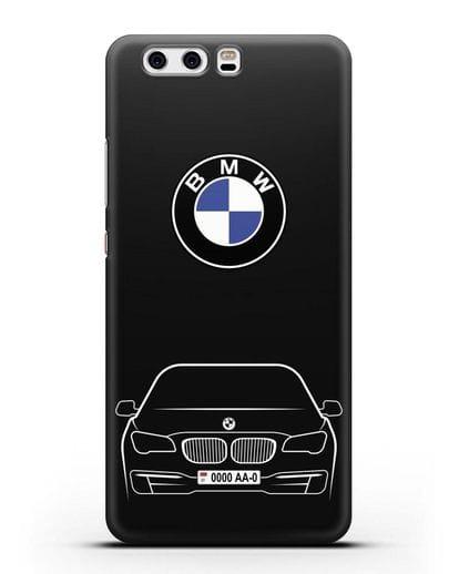 Чехол BMW 7 с автомобильным номером силикон черный для Huawei P10