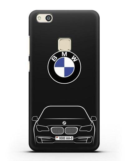 Чехол BMW 7 с автомобильным номером силикон черный для Huawei P10 Lite