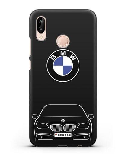Чехол BMW 7 с автомобильным номером силикон черный для Huawei P20 Lite