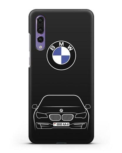 Чехол BMW 7 с автомобильным номером силикон черный для Huawei P20 Pro