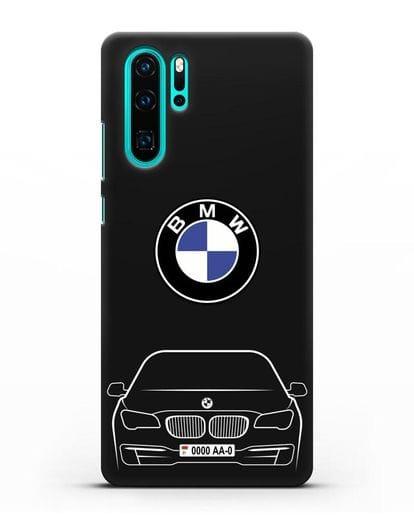 Чехол BMW 7 с автомобильным номером силикон черный для Huawei P30 Pro