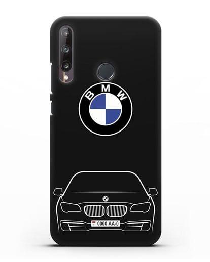 Чехол BMW 7 с автомобильным номером силикон черный для Huawei P40 lite E