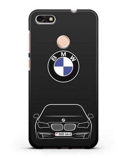 Чехол BMW 7 с автомобильным номером силикон черный для Huawei P9 Lite mini