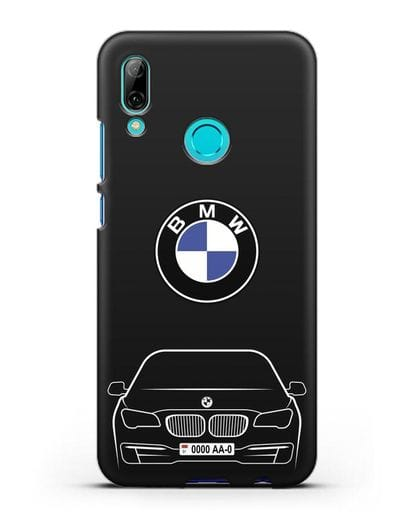 Чехол BMW 7 с автомобильным номером силикон черный для Huawei P Smart 2019