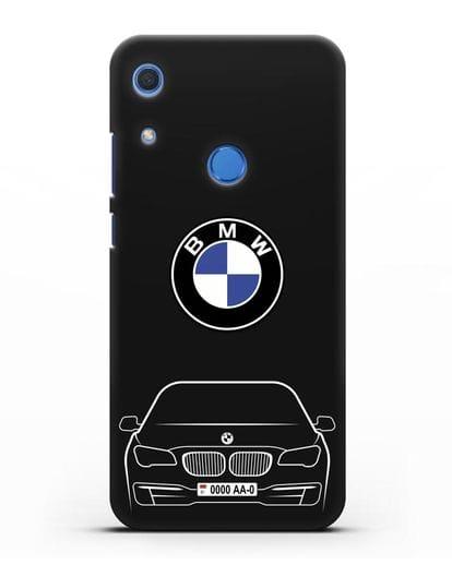 Чехол BMW 7 с автомобильным номером силикон черный для Huawei Y6s