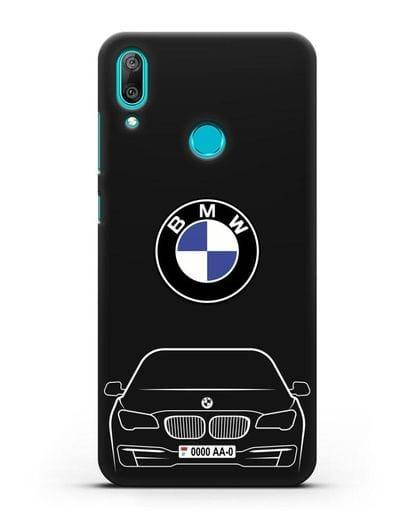 Чехол BMW 7 с автомобильным номером силикон черный для Huawei Y7 2019