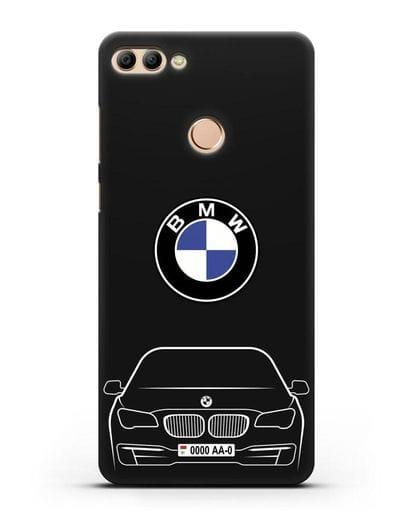 Чехол BMW 7 с автомобильным номером силикон черный для Huawei Y9 2018