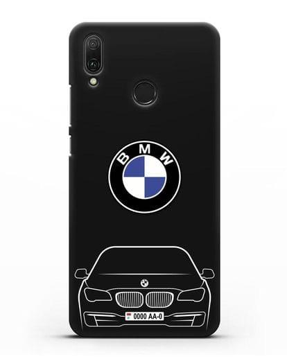 Чехол BMW 7 с автомобильным номером силикон черный для Huawei Y9 2019