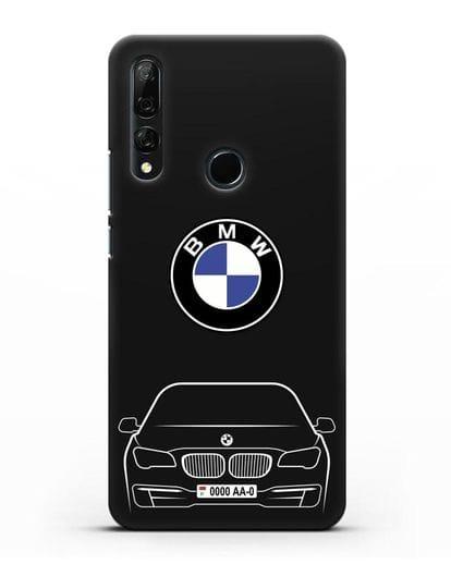 Чехол BMW 7 с автомобильным номером силикон черный для Huawei Y9 Prime 2019