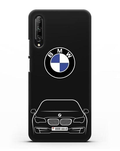 Чехол BMW 7 с автомобильным номером силикон черный для Huawei Y9s