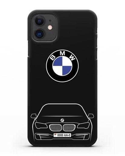 Чехол BMW 7 с автомобильным номером силикон черный для iPhone 11