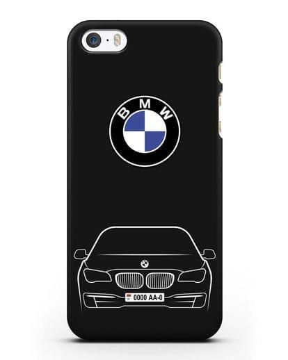 Чехол BMW 7 с автомобильным номером силикон черный для iPhone 5/5s/SE