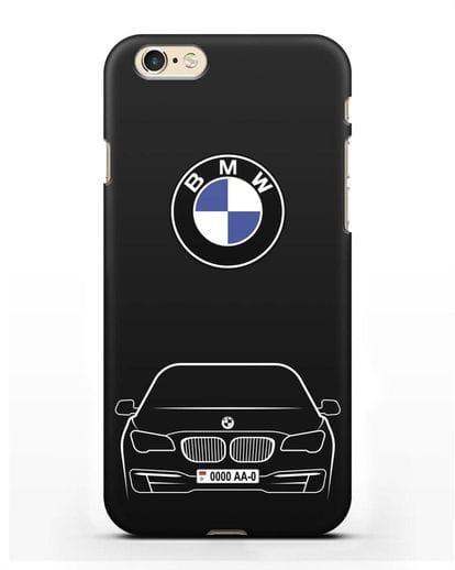 Чехол BMW 7 с автомобильным номером силикон черный для iPhone 6s