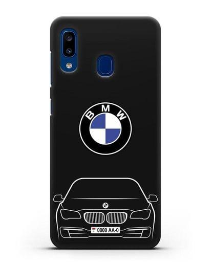 Чехол BMW 7 с автомобильным номером силикон черный для Samsung Galaxy A20 [SM-A205FN]