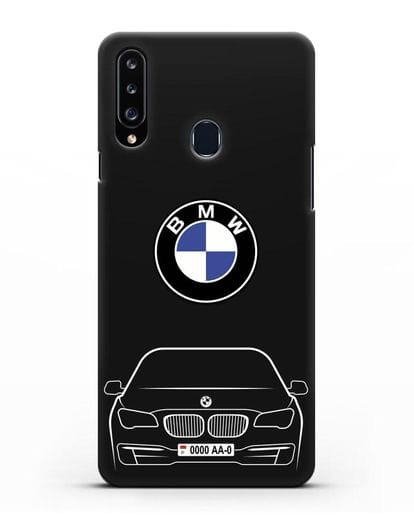 Чехол BMW 7 с автомобильным номером силикон черный для Samsung Galaxy A20s [SM-A207FN]