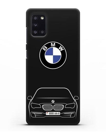 Чехол BMW 7 с автомобильным номером силикон черный для Samsung Galaxy A31 [SM-A315F]