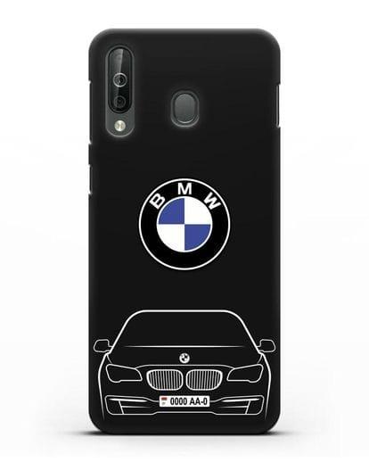 Чехол BMW 7 с автомобильным номером силикон черный для Samsung Galaxy A40s [SM-A507FN]