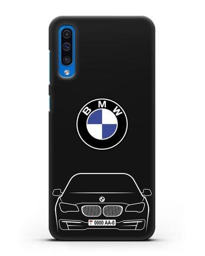 Чехол BMW 7 с автомобильным номером силикон черный для Samsung Galaxy A50 [SM-A505F]