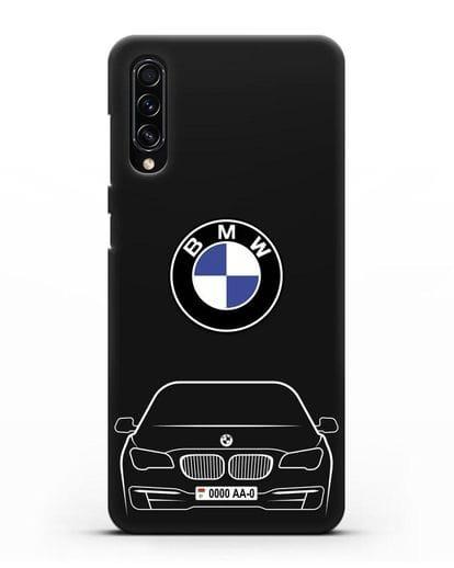 Чехол BMW 7 с автомобильным номером силикон черный для Samsung Galaxy A70s [SM-A707F]