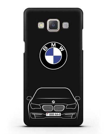 Чехол BMW 7 с автомобильным номером силикон черный для Samsung Galaxy A7 2015 [SM-A700F]