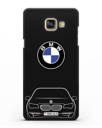 Чехол BMW 7 с автомобильным номером силикон черный для Samsung Galaxy A7 2016 [SM-A710F]