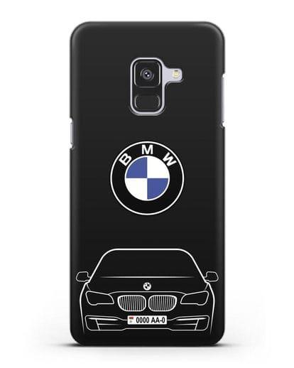 Чехол BMW 7 с автомобильным номером силикон черный для Samsung Galaxy A8 [SM-A530F]