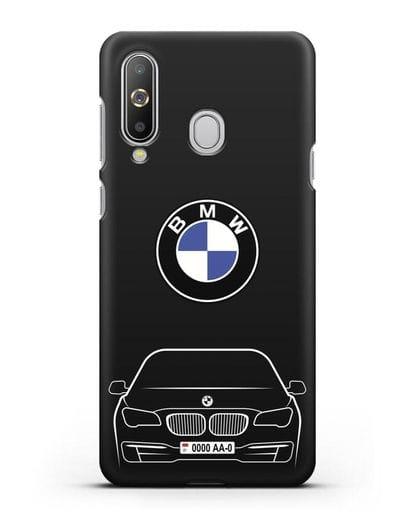 Чехол BMW 7 с автомобильным номером силикон черный для Samsung Galaxy A8s [SM-G8870]
