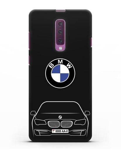 Чехол BMW 7 с автомобильным номером силикон черный для Samsung Galaxy A90 [SM-A908N]