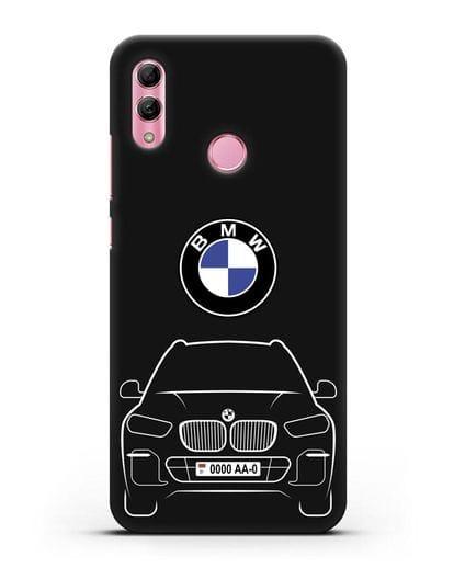 Чехол BMW X5 с автомобильным номером силикон черный для Honor 10 Lite