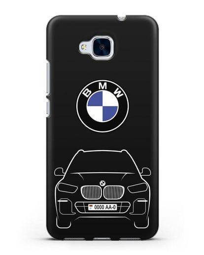 Чехол BMW X5 с автомобильным номером силикон черный для Honor 5C