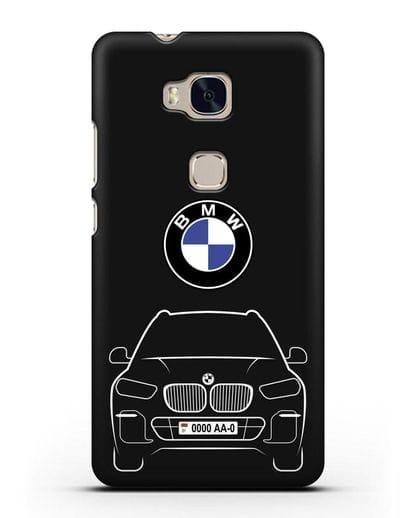 Чехол BMW X5 с автомобильным номером силикон черный для Honor 5X
