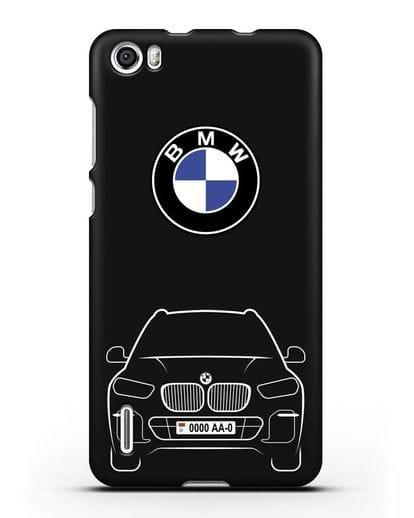 Чехол BMW X5 с автомобильным номером силикон черный для Honor 6
