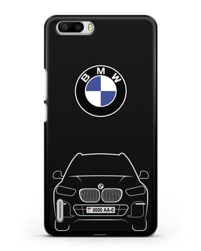 Чехол BMW X5 с автомобильным номером силикон черный для Honor 6 Plus