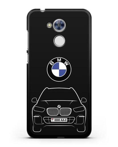 Чехол BMW X5 с автомобильным номером силикон черный для Honor 6A