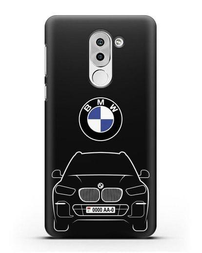 Чехол BMW X5 с автомобильным номером силикон черный для Honor 6X