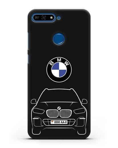 Чехол BMW X5 с автомобильным номером силикон черный для Honor 7А Pro