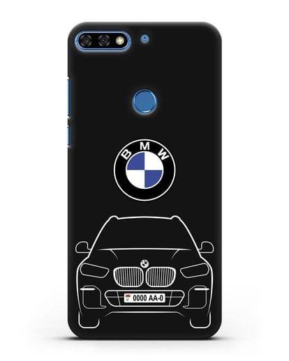 Чехол BMW X5 с автомобильным номером силикон черный для Honor 7C Pro